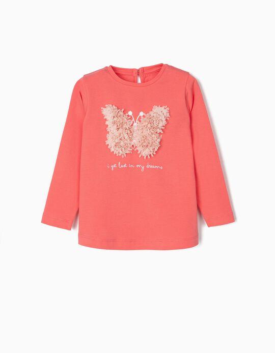 T-shirt Manga Comprida para Bebé Menina 'Butterfly', Rosa