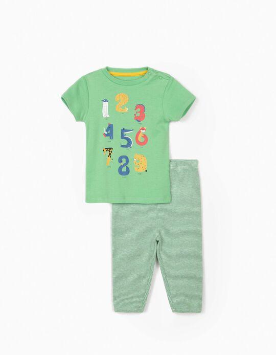 Pijama Manga Curta para Bebé Menino 'Numbers', Verde/Cinza