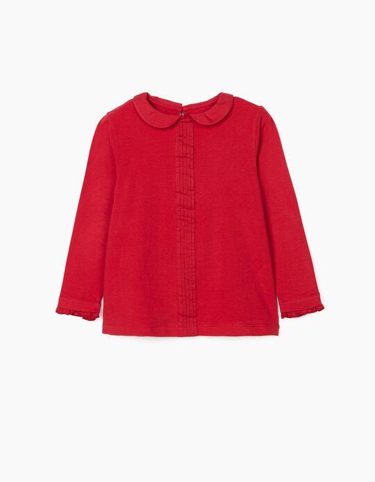 T-Shirt Manga Comprida com Gola para Menina, Vermelho