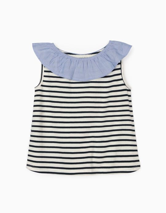 Striped Top for Girls, Blue/White