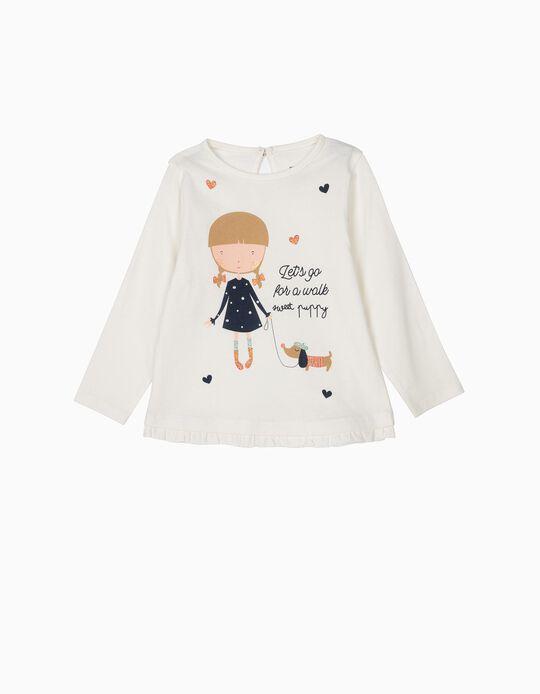Camiseta de Manga Larga para Bebé Niña 'Sweet Puppy', Blanca