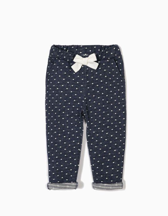 Calças para Bebé Menina 'Polka Dots' com Laço, Azul