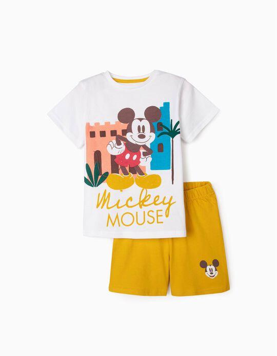 Pijama Algodón Orgánico para Niño 'Mickey', Blanco/Amarillo