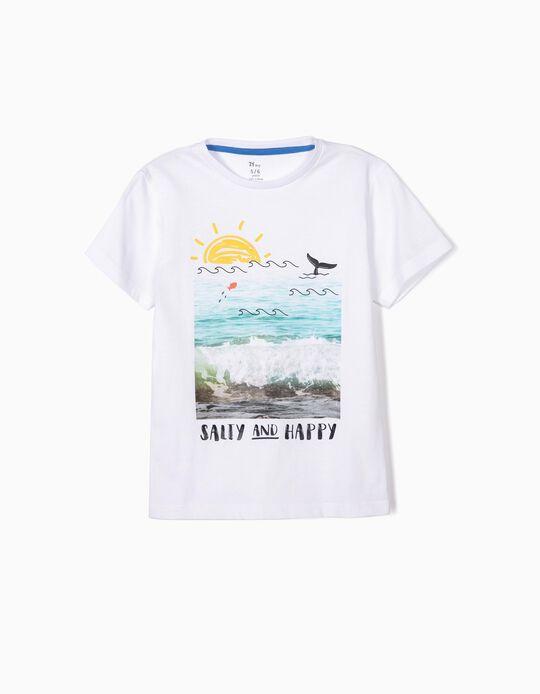 T-shirt para Menino 'Salty and Happy', Branco