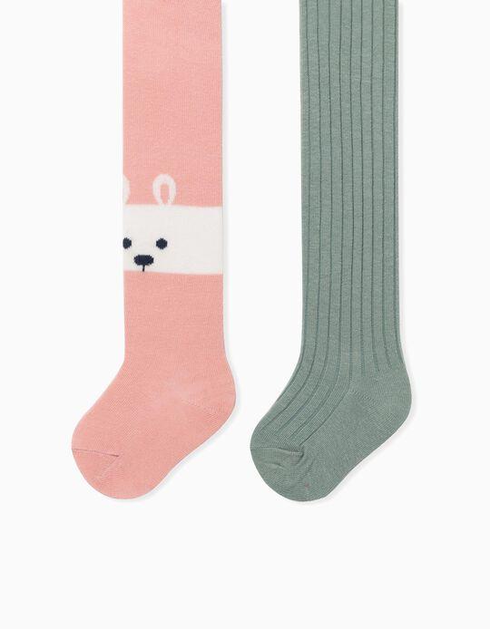 2 Leotardos para Bebé Niña 'Bunny', Rosa/Verde