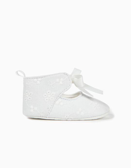 Zapatos para Recién Nacida Bordado Inglés, Blancos