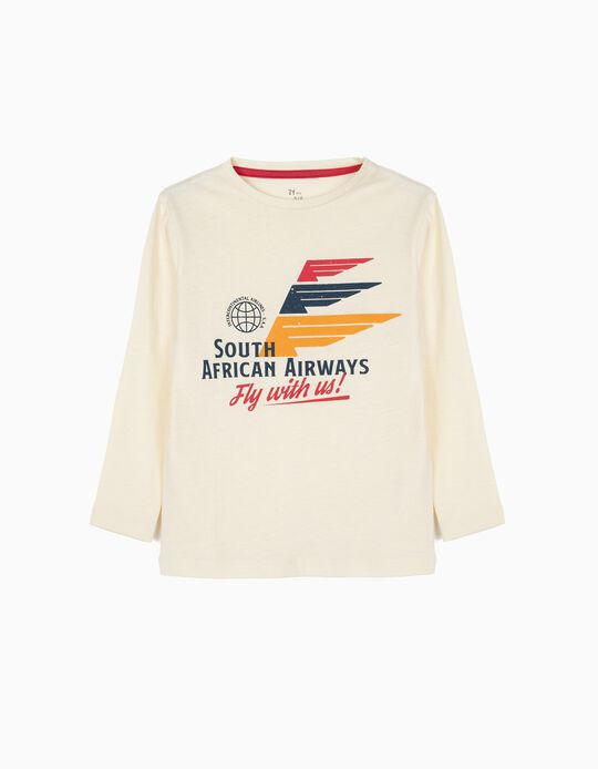 T-shirt Manga Comprida para Menino 'South African Airways', Branco