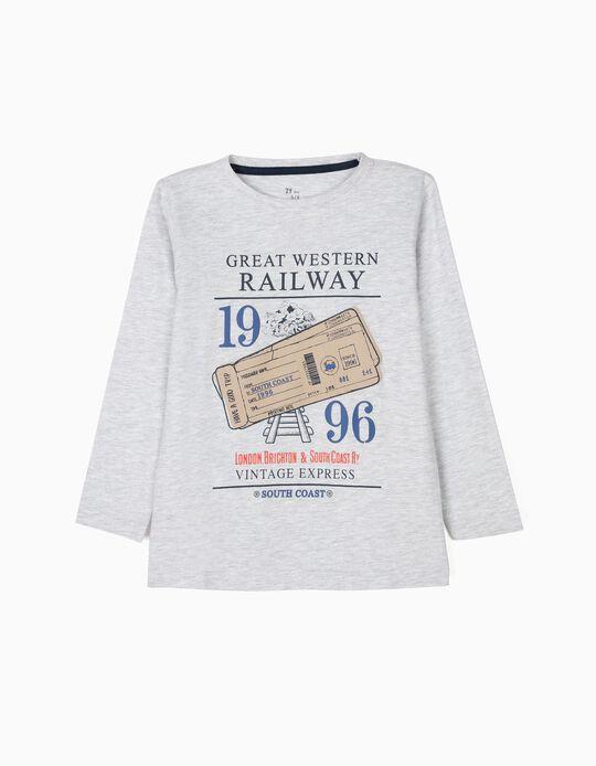 T-shirt Manga Comprida para Menino 'Vintage Train', Cinza