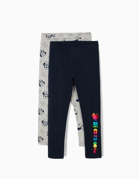 2 Leggings para Menina 'Minnie Mouse', Azul e Cinza