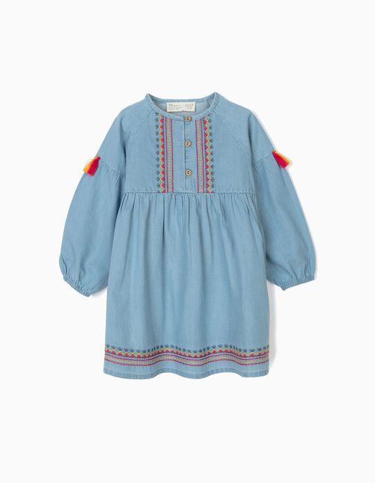Vestido de Ganga para Bebé Menina com Bordados e Borlas, Azul
