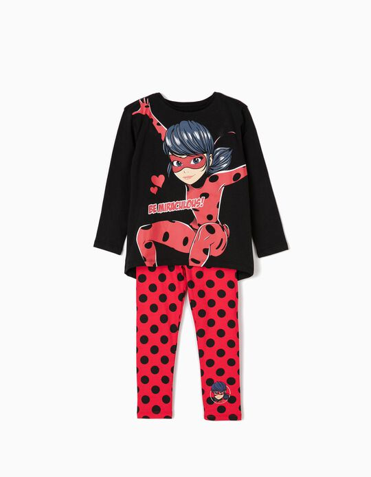 T-shirt Manga Comprida e Leggings para Menina 'Ladybug', Preto