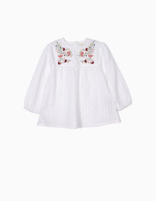 Blusa para Bebé Niña con Relieve y Bordados, Blanca