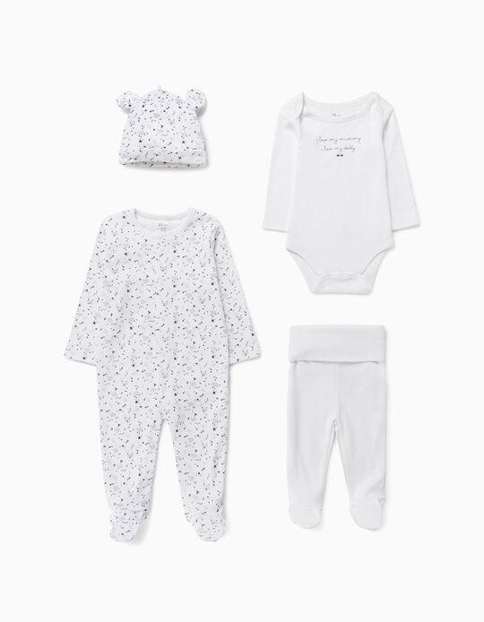 Conjunto 4 Prendas para Recién Nacido, Blanco/Azul Oscuro