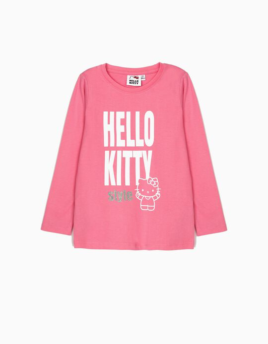 Camiseta de Manga Larga para Niña 'Hello Kitty', Rosa