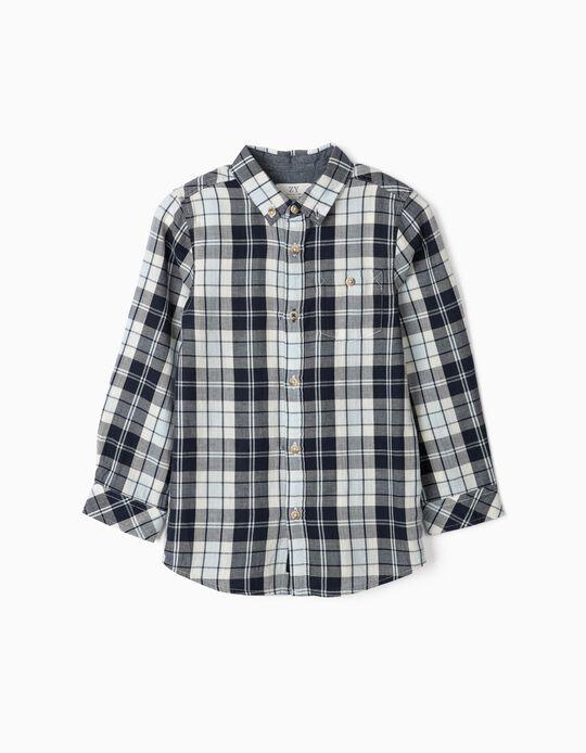 Camisa Xadrez para Menino, Azul/Branco