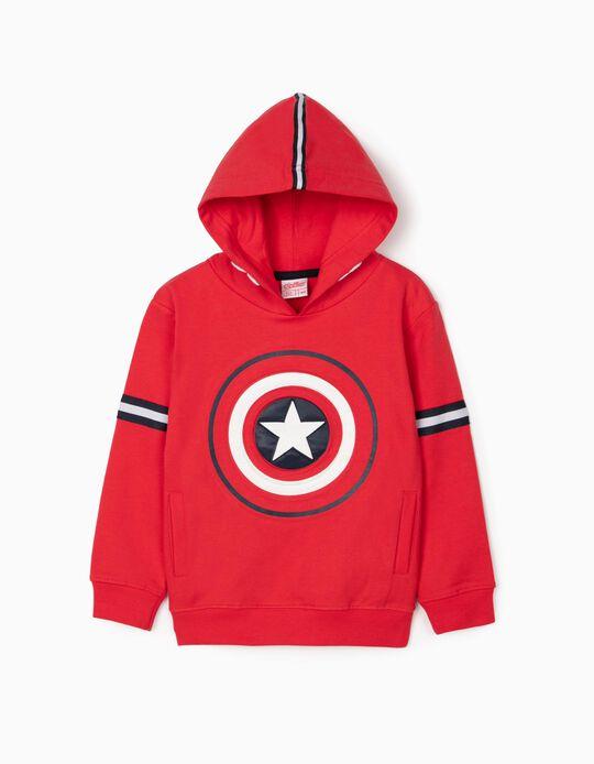 Sudadera con Capucha para Niño 'Capitán América', Roja