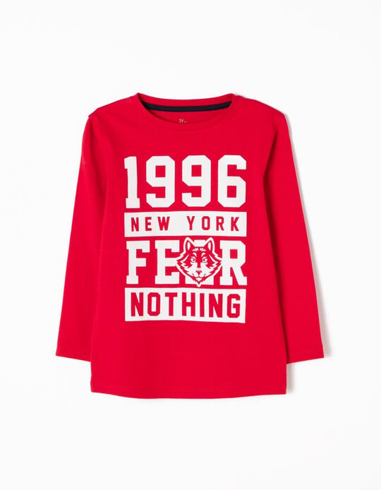 T-shirt Manga Comprida Fear Nothing Vermelha