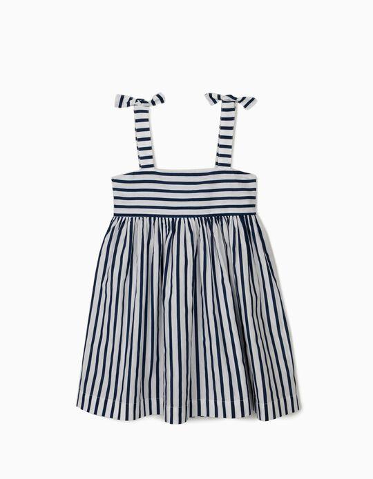 Robe à bretelles fille 'Stripes', blanc/bleu