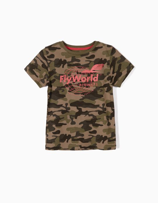 T-shirt para Menino 'Fly World', Verde