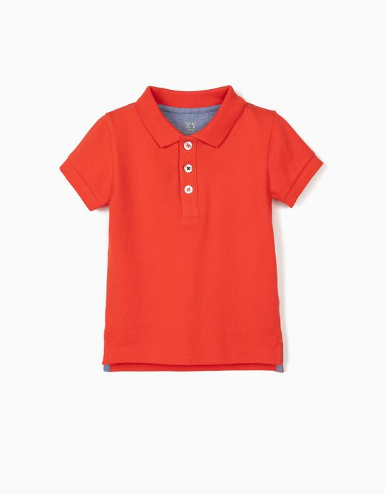 Piqué Knit Polo Shirt for Baby Boys, Coral