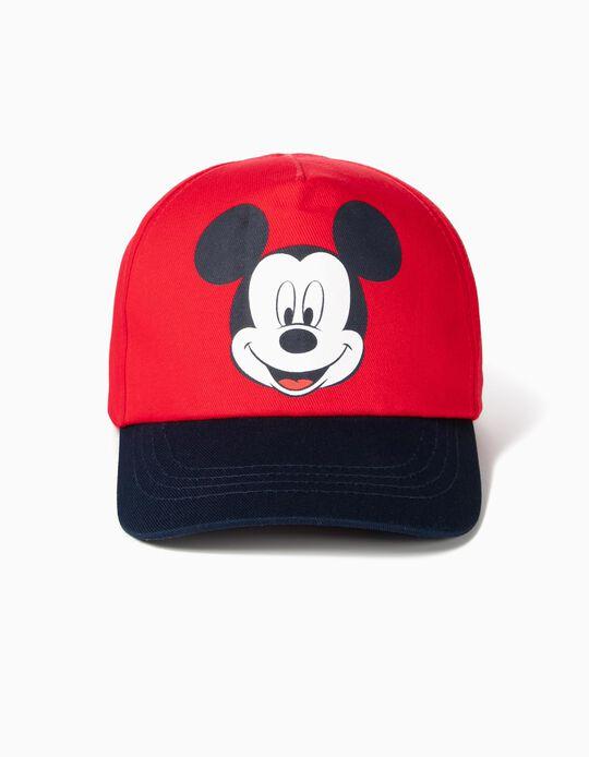Boné para Bebé Menino 'Mickey', Vermelho e Azul Escuro
