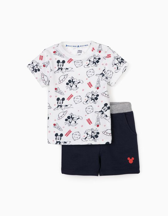 T-shirt and Shorts for Baby Boys, 'Mickey Mouse Space', White/Dark Blue