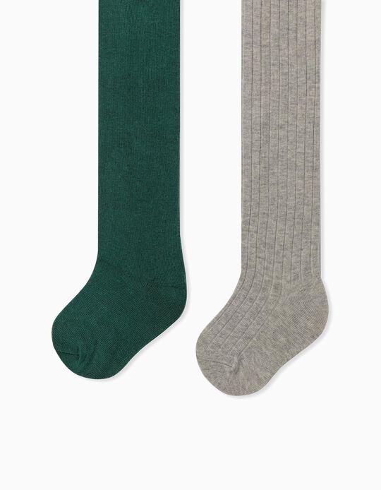 2 Collants de Malha para Bebé Menina, Cinza/Verde