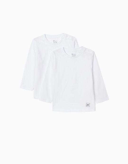 2 T-shirts Manga Comprida para Bebé Menino, Branco