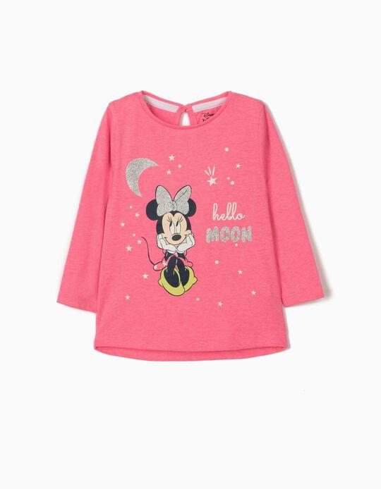 Camiseta de Manga Larga para Bebé Niña 'Minnie Moon', Rosa