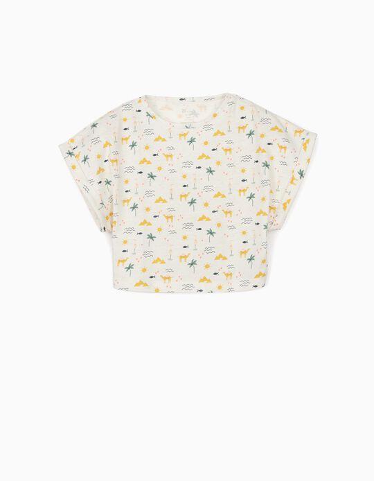 Camiseta Corta de Algodón Orgánico para Niña 'Egypt' Blanco