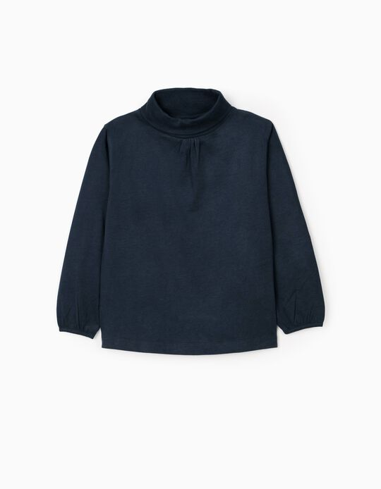 Camiseta de Manga Larga e Cuello Alto para Niña, Azul Oscuro