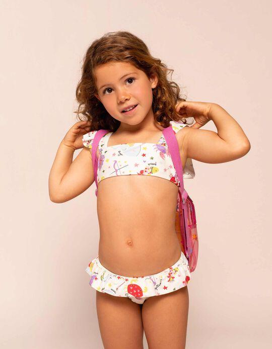 Bikini protection UV 80 fille 'Unicorns', blanc