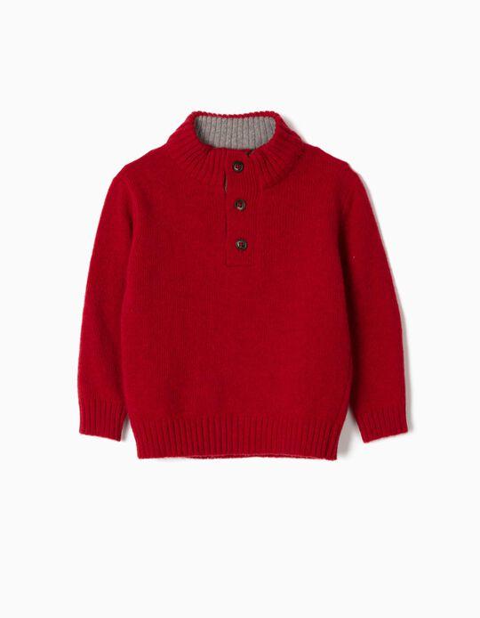 Camisola Lã para Bebé Menino com Cotoveleiras, Vermelho