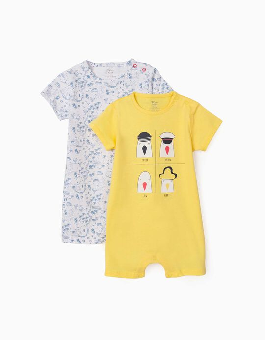 2 Short Sleeve Sleepsuits for Baby Boys, 'Seagulls', Yellow/Light Blue