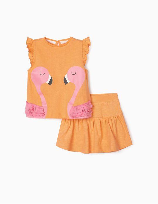 Top & Skirt for Baby Girls, 'Flamingos', Salmon