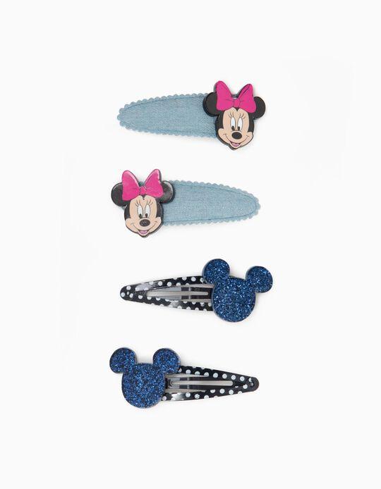 4 Horquillas para Niña y Bebé Niña 'Minnie', Azul