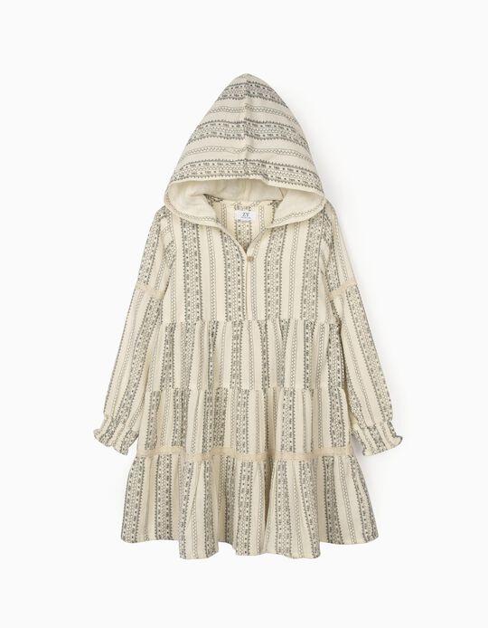 Hooded Dress for Girls, White