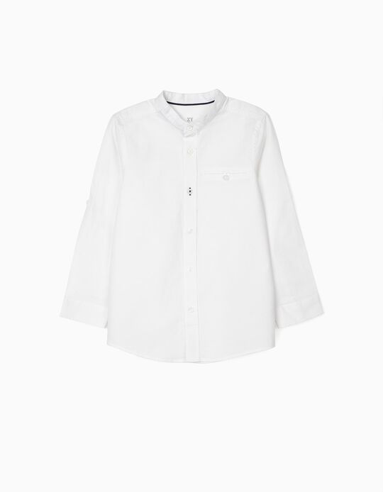 Shirt with Mao Collar for Boys, White
