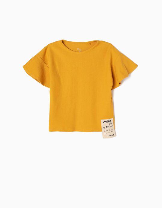 Camiseta con Relieve y Volantes Amarilla