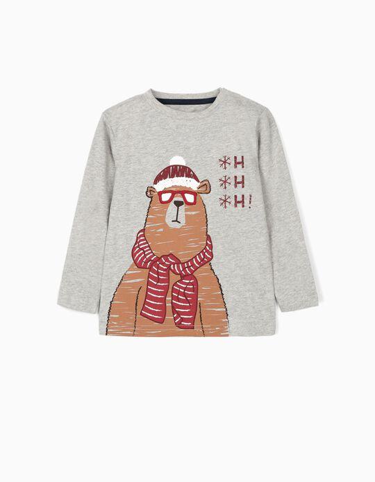 Camiseta de Manga Larga para Bebé Niño 'Christmas Bear', Gris