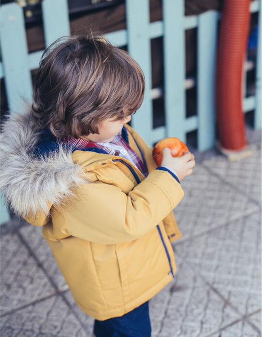 Parka con Capucha Amarilla