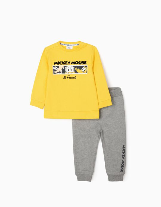 Tracksuit for Baby Boys, 'Mickey Mouse & Friends', Yellow/Grey