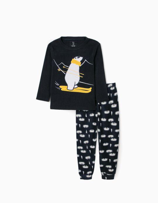 Polar Fleece Pyjamas for Boys 'Ski', Dark Blue
