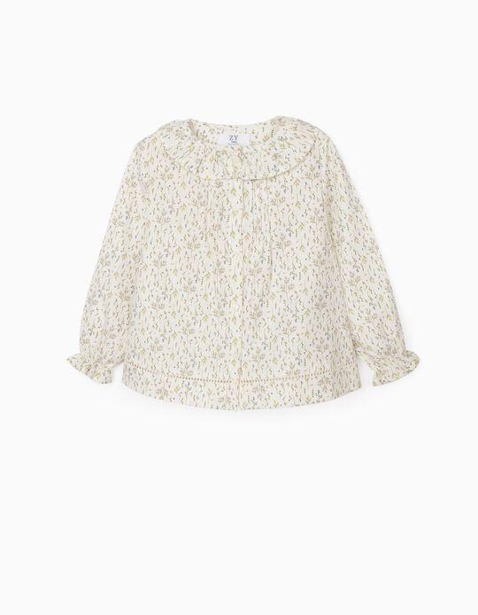 Blusa de Flores para Bebé Niña, Blanca