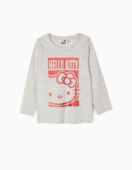 Camiseta de Manga Larga para Niña 'Hello Kitty', Gris
