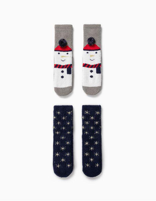 2 Pares de Calcetines Antideslizantes para Niños 'Christmas', Azul/Gris