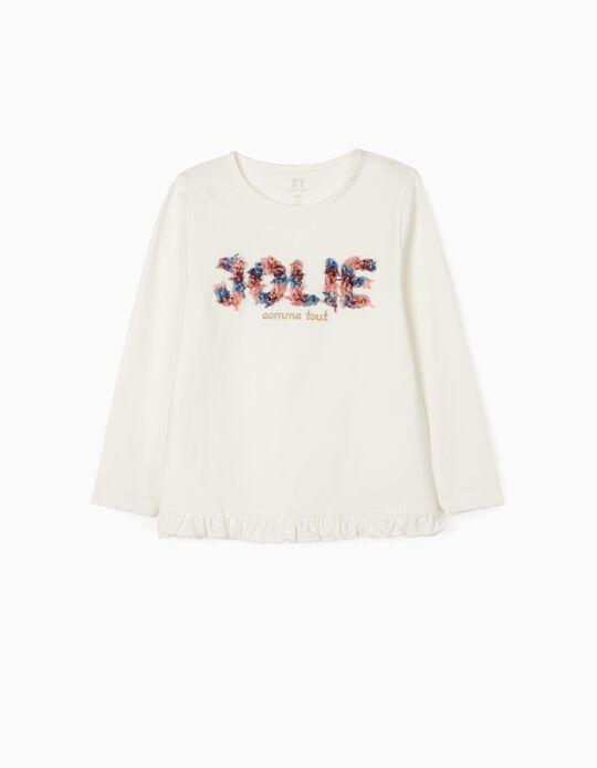 T-Shirt de Manga Comprida 'Jolie', Branco