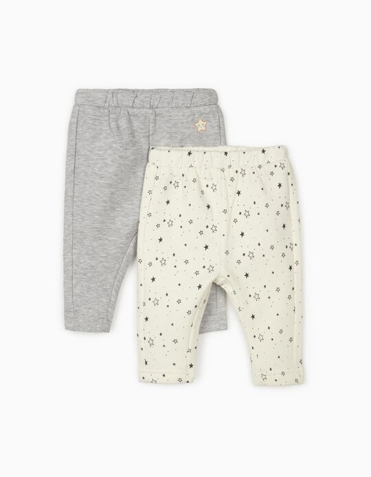 2 Tracksuit Bottoms for Newborn Baby Girls 'Stars', Grey/White