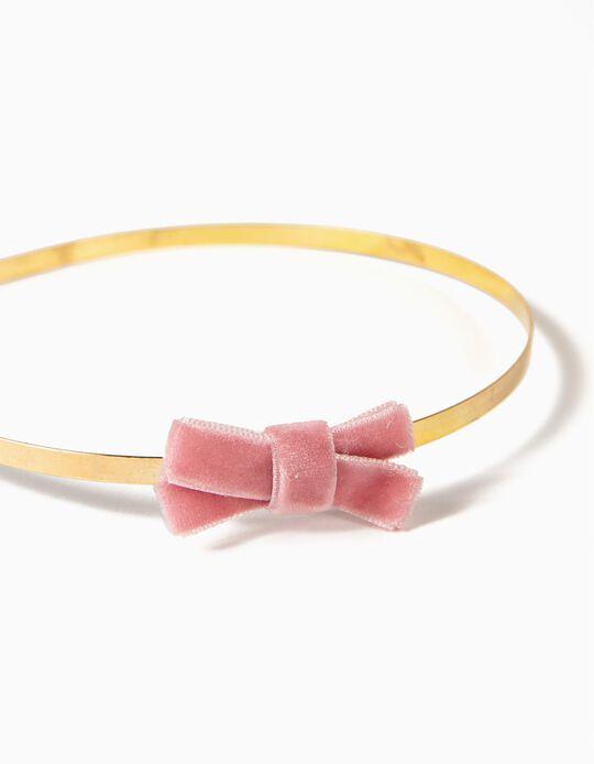 Bandolete com Lacinho para Menina, Dourado/Rosa