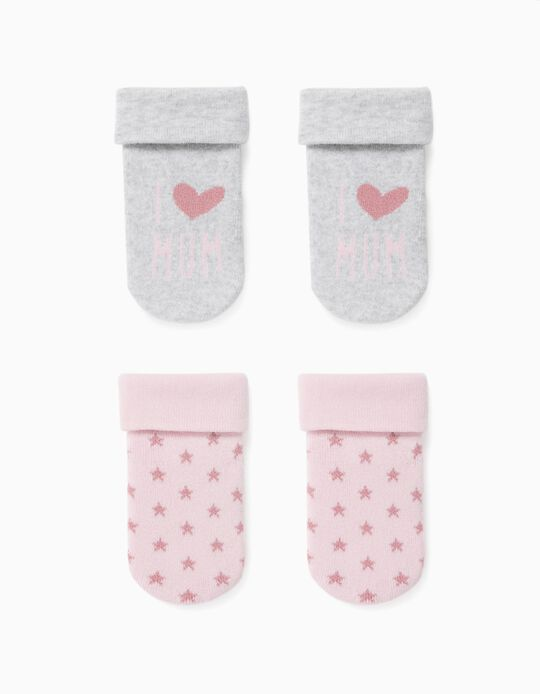 2 Pairs of Socks for Baby Girls, 'Mum', Grey/Pink